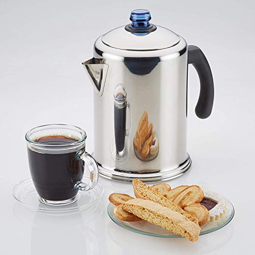 Coffee Percolator Coffe Pot Stainless Steel 12 CUP Camping Coffee Pot with Glass Blue Knob