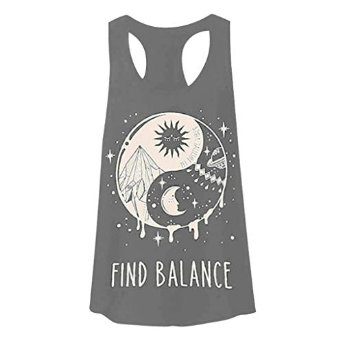 (Women Summer Tank Top Racerback Casual Round Neck Sleeveless Letter Printed Workout Vest Blouse Shirt Amiley (X-Large, Gray))
