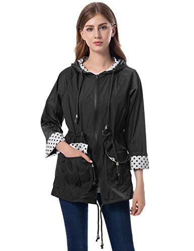 Romanstii Rain Coats for Women Waterproof Rain Jacket with Hood Outdoor Travel Rainwear Outwear Black S