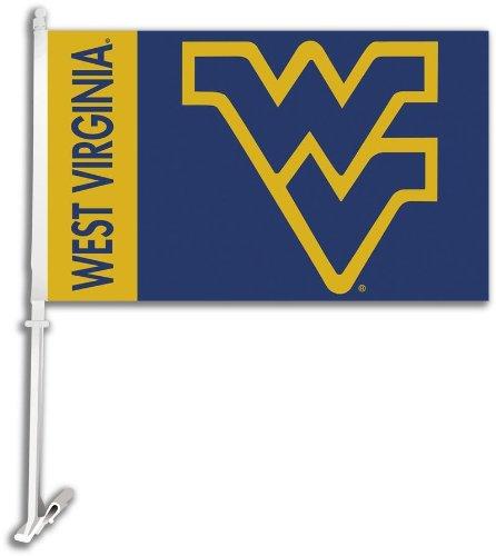 NCAA West Virginia Mountaineers Car Flag with Free Wall Bracket
