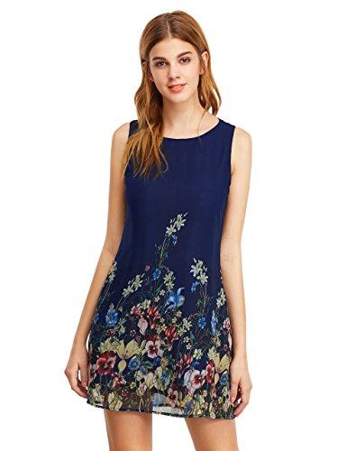 ROMWE Women's Floral Print Sleeveless Summer Loose Mini Dress Navy M