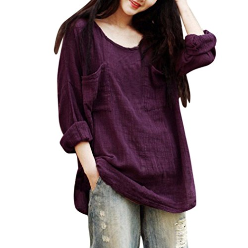 Syban Womens Cotton Linen Thin Section Loose Long-Sleeved Blouse T-Shirt Pullover