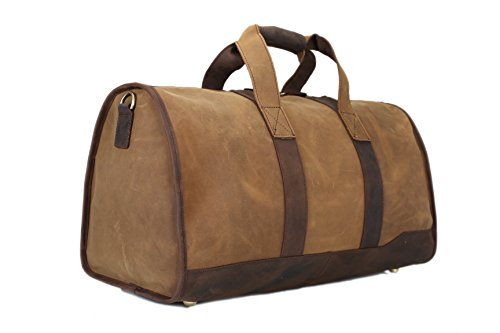 ROCKCOW Super Large Men Genuine Leather Duffle Bag Travelling Bag Weekend Bag Holdall by ROCKCOW