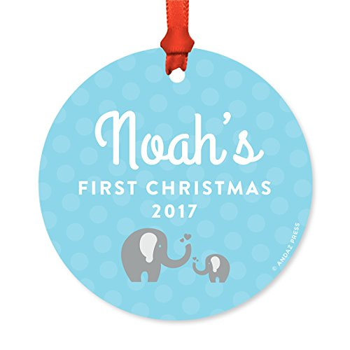 Andaz Press Personalized Round Metal Christmas Ornament, Baby's First Christmas 2018, Baby Elephant Baby Blue Boy, 1-Pack, Includes Ribbon and Gift Bag, Baby Shower Decorations, Custom Name Year Baby Elephant Ornament