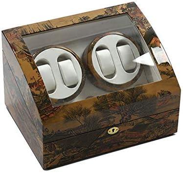 時計ワインダー、4 + 6時計収納ディスプレイボックス静かなモーター5回転モード手作りの反磁化防塵収納ボックス
