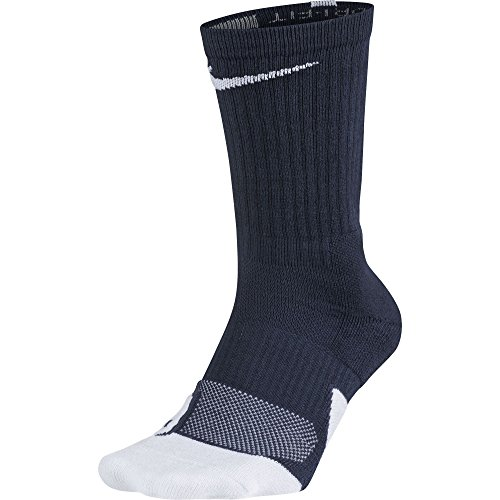 Nike Elite 1.5 Crew Basketball Sock Midnight Navy/White Size Large