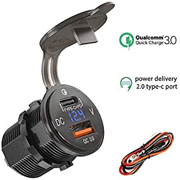Amazon.com: Type C USB Charger Socket PD 18W and QC 3.0