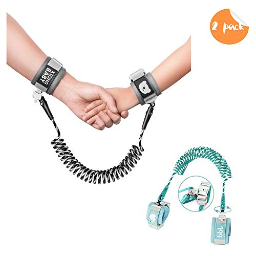 Anti-Lost Wrist Link, Outdoor Harness for Children. (Cyan/8.2 feet and Black/4.9 feet)