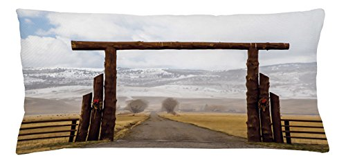 Western Throw Pillow Cushion Cover by Lunarable, Big Log Gate Lane Montana Cattle Ranch in Winter Countryside Hills Cloudy Sky, Decorative Square Accent Pillow Case, 36 X 16 Inches, Brown Grey (Big Sky Log)