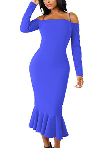 Mujeres De Manga Bodycon Con Elegantes Volantes Hombro Sirena Vestido De Correas Larga Blue Sólido Las BwqFSpdq