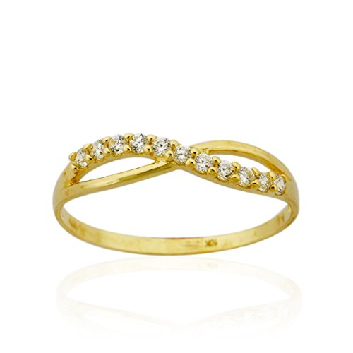 10k Gold Cross-over Infinity twist wedding Band Ring with Czs