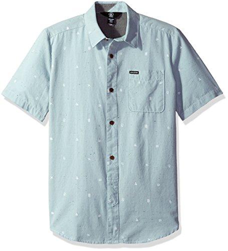 Price comparison product image Volcom Boys' Big White Noise Short Sleeve Shirt Youth,  Cloud Blue M