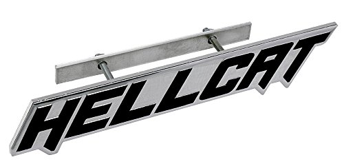 ERPART Black on Silver Highly Polished Aluminum Hellcat Hell Cat Grille Grill Plaque Emblem Badge Nameplate Logo Decal Rare Compatible with Dodge Challenger Charger Jeep Chrysler (Mounts Motor 4 Srt)