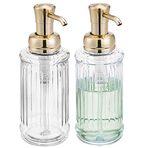 mDesign Fluted Plastic Refillable Liquid Soap Dispenser Pump Bottle for Bathroom Vanity Countertop, Kitchen Sink - Holds Hand Soap, Dish Soap, Hand Sanitizer, Essential Oil - 2 Pack - Clear/Soft Brass