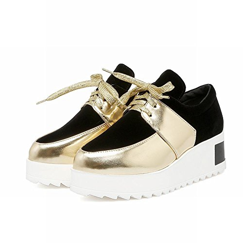 Lacets Femmes Latasa Plateforme Oxford Chaussures Or