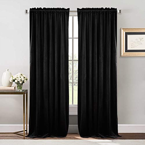 NICETOWN Bedroom Velvet Blackout Curtain Panels - Solid Heavy Matt Drapes/Window Treatments (2 Panels, 84 inch Long, Black)
