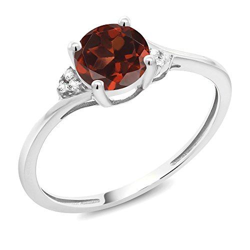 1.04 Ct Round Red Garnet White Diamond 10K White Gold Ring (Available in size 5, 6, 7, 8, 9)