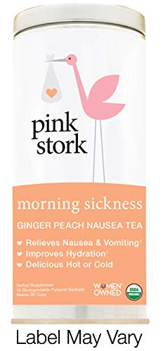 Pink Stork Morning Sickness Tea: Ginger-Peach, USDA Organic Loose Leaf Herbs in Biodegradable Sachets, Morning Sickness, Nausea, Cramps, Indigestion Relief -30 Cups