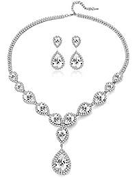 Womens Silver / Gold Plated Teardrop White Champagne Crystal Wedding Bridal Jewelry Set Teardrop Pendant Necklace Drop Dangle Earrings Set