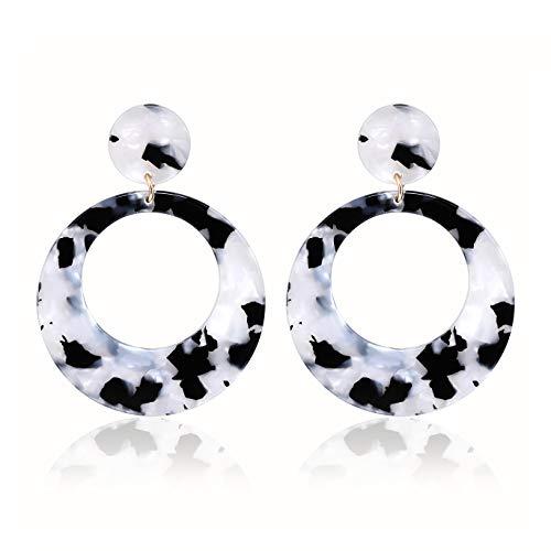 - YAHPERN Acrylic Earrings for Women Girls Statement Geometric Earrings Resin Acetate Drop Dangle Earrings Mottled Hoop Earrings Fashion Jewelry (A-Black White)