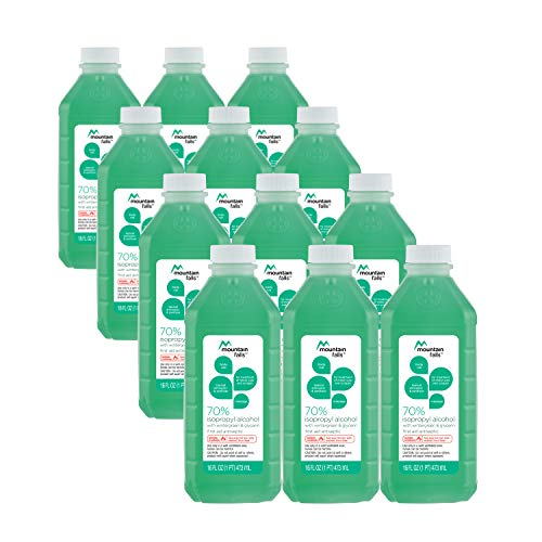 Mountain Falls 70% Isopropyl Alcohol First Aid Antiseptic for Treatment of Minor Cuts and Scrapes, with Wintergreen and Glycerin, 16 Fluid Ounce (Pack of 12)