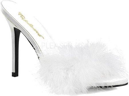 Fur Fabulicious Women's Pu CLASSIQUE White Pleaser by Marabou Slipper 01F F46zFqw