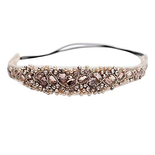 Alamana Handmade Rhinestone Crystal Bohemia Crystal Beaded Elastic Headband