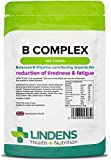 Lindens Vitamin B Complex Tablets | 100 Pack | Balanced formula containing 8 B Vitamins fortified with Vitamin C, Choline, Inositol & PABA contributing normal metabolism, reduction of tiredness & fatigue