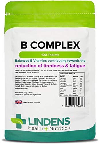 Lindens Complejo de vitamina B en comprimidos | 100 Paquete | Fórmula equilibrada que contiene 8