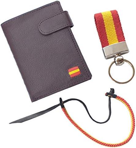 Tiendas LGP - Cartera Billetero Monedero, Bandera de España, Caballero -Piel Autentica, Color marrón + Llavero + Pulsera: Amazon.es: Equipaje