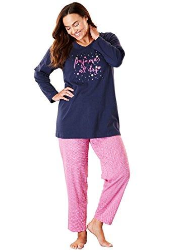 (Dreams & Co. Women's Plus Size Novelty Pj Set - Pink Raspberry Dot, 1X)