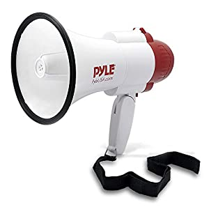 Pyle Handheld Portable Compact Bullhorn Megaphone Speaker with Built-in Alarm Siren, Adjustable Volume & Voice Changer - Battery Powered Includes Wearable Strap - Indoor Outdoor Use - PMP39VC ( Red )