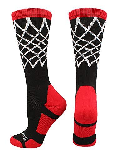 - MadSportsStuff Crew Length Elite Basketball Socks with Net (Black/Red, Medium)