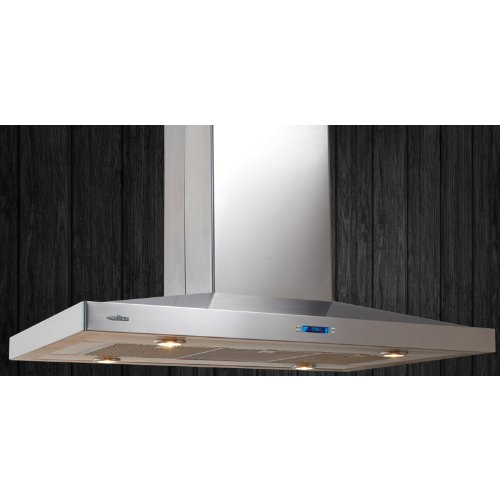 Elica Chimney Hoods - ELICA ESL642S2 Island Chimney Hood with 600 CFM Internal Blower, 3 Dishwasher-Safe Stainless Steel Micro Hole Filters, 4 Halogen Lamps, Heat Guard, Electronic Controls and LCD Display