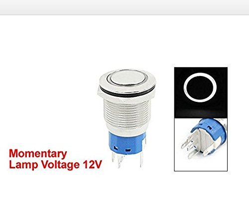 Baomain White Light 12V Momentary 19mm Stainless Steel Button Switch 1NO 1NC by Baomain (Image #1)