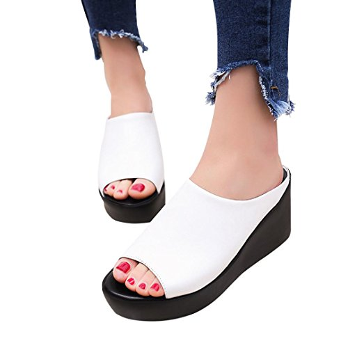 Dasuy Women's Fish Mouth Platform Wedge Sandals Chunky High Heels Shoes Women Open Toe Slippers Pumps (US 6.5, White) ()