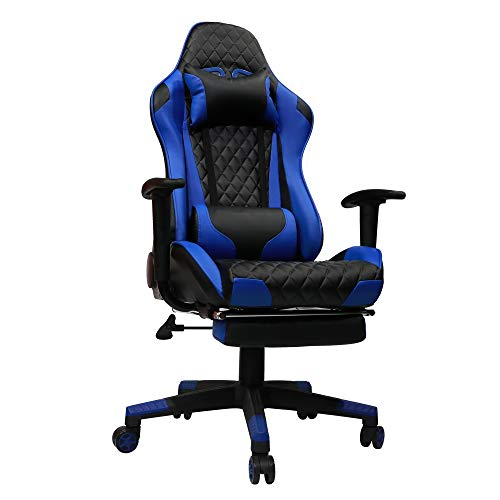 Kinsal Gaming Chair with Footrest Racing Style High-Back PU Leather Office Chair Computer Desk Chair Executive and Ergonomic Style Swivel Chair Including Headrest and Massage Lumbar Support (Blue) Kinsal