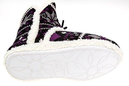 gibra - Zapatillas de estar por casa de tela para mujer 42 negro/lila