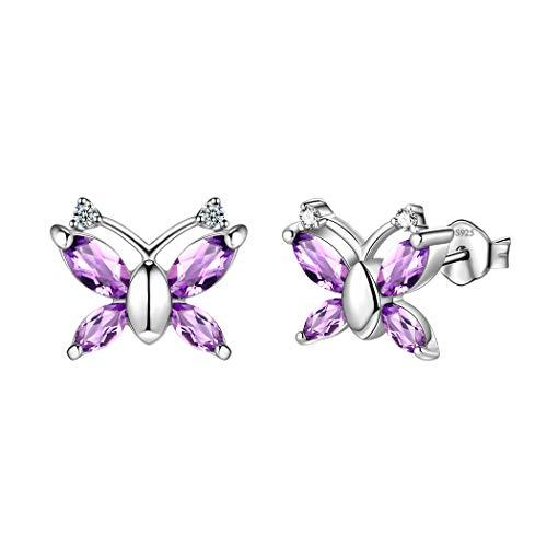 Aurora Tears 925 Sterling Silver Purple Butterfly Stud Earrings Women Minimalist Animal Earrings Crystal Small Cute Butterflies Girls Dating Gift Jewellery For Wedding/Anniversary/Bride DE0139P