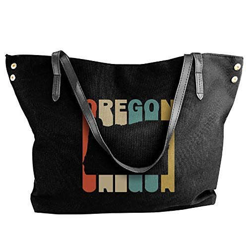 Tote Retro Black Silhouette Large Messenger Tote Bag Style Hobo Canvas Handbag Women's Oregon Shoulder qE4SS6