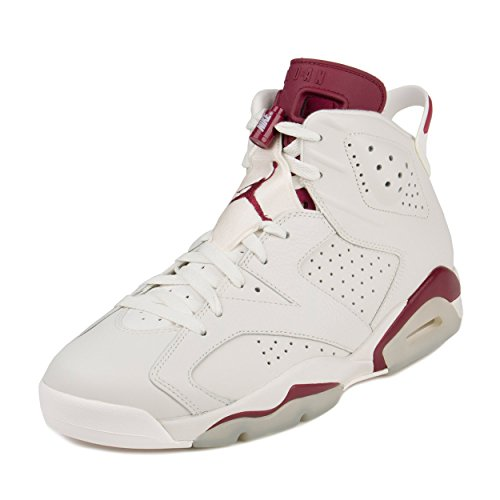 Nike Air Jordan Men's 6 Retro Basketball Shoe Off White/New Maroon Size 10 (Jordan Retro 6 For Men)
