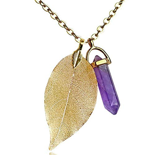 Jewelryamintra Fashion Women Necklace Natural Stone Leaf Pendant DIY Quartz Necklace Jewelry