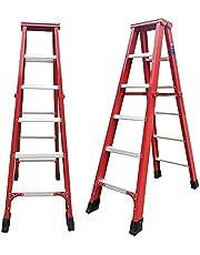 5 Step Folding Aluminum Ladder Double Sided Herringbone Ladder Anti Slip Sturdy Type 1a Ladder Roofing Household Outdoor Capacity 150kg