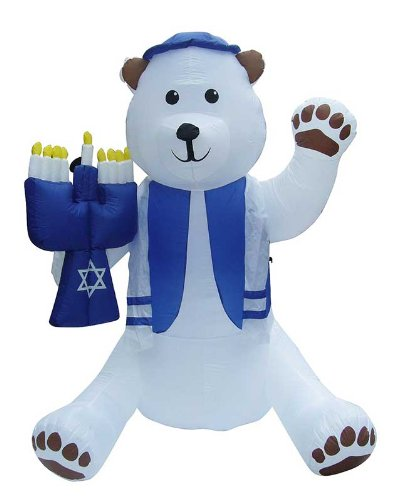 Zion Judaica Inflatable Lawn Inflatable Bear Holding Menorah Indoor Outdoor Decoration with Night Glowing Lights 7' Feet Tall ()