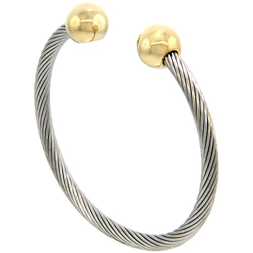 Stainless Steel Bracelet Gold tone Magnetic
