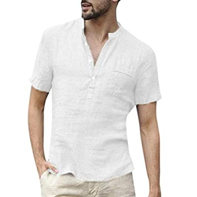 Huitian23 Men Linen and Cotton V Neck Short Sleeve T Shirts SOID Color Casual Tee Tops Blouse