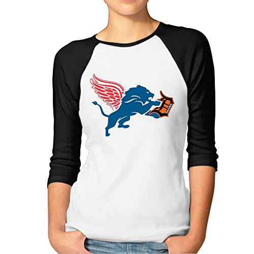 ElishaJ Women's Detroit Sports Logo Mixed 3/4 Raglan Sleeves Baseball T Shirts Black XXL