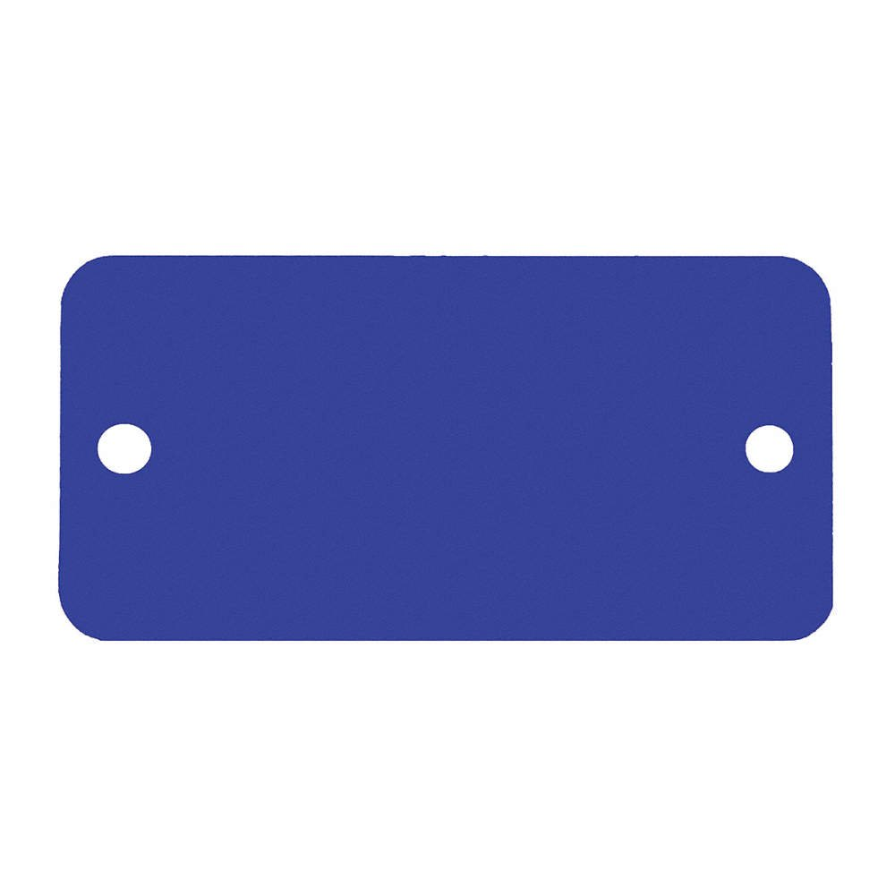 C.H. Hanson C H Hanson 1-1/2'' x 3'' Anodized Aluminum Blue Rectangle Blank Metal Tag with Rounded Corners - 5 pk.