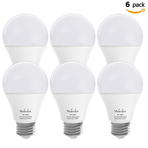 LED Globe Bulbs,Mulcolor LED Light Bulbs / LED Bulbs / Led Globe Lamps / Led Bulbs Indoor, 60 Watt Equivalent + 800 Lumens + E26 Socket + Soft White (3000K) , Not Dimmable 【Pack of 6】