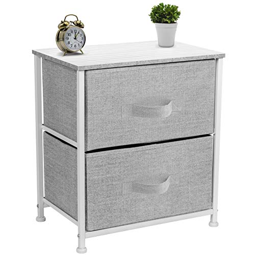 Sorbus Nightstand with 2 Drawers – Bedside Furniture & Accent End Table Chest for Home, Bedroom Accessories, Office, College Dorm, Steel Frame, Wood Top, Easy Pull Fabric Bins (White/Gray)
